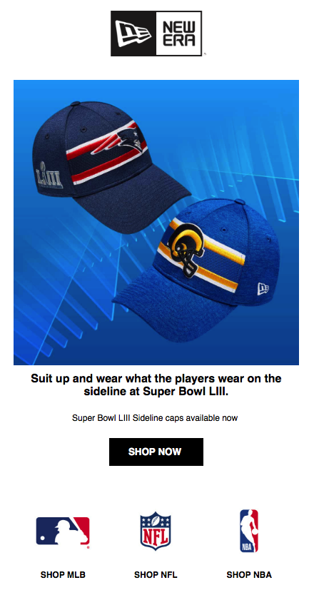 Apparel Super Bowl Promotion Example