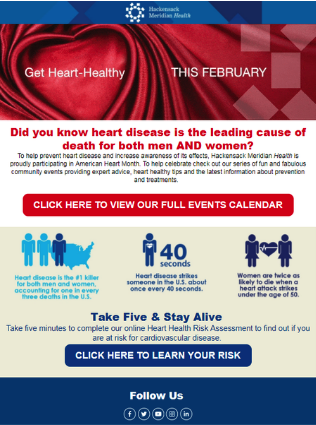 American Heart Month Email Example