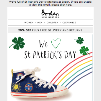 St. Patrick's Day Email Examples