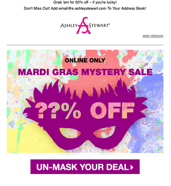 Mardi Gras Email Marketing Example