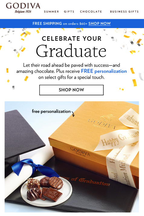 Graduation Email Marketing Examples