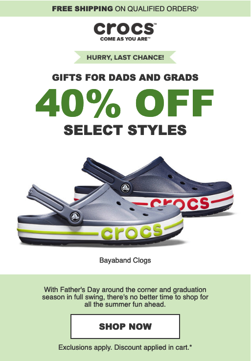 Father's Day and Graduation Email Marketing Examples