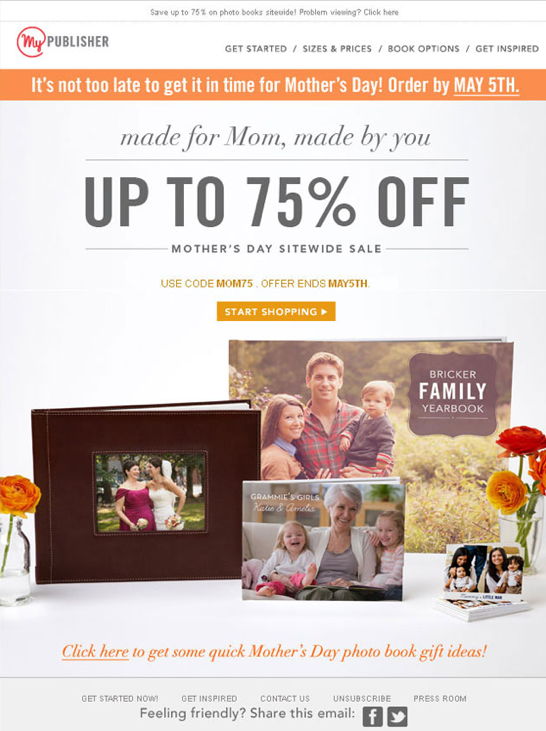 Mother's Day Email Marketing Examples