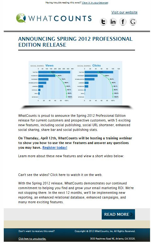 Product Update Sample Email Whatcounts Enterprise