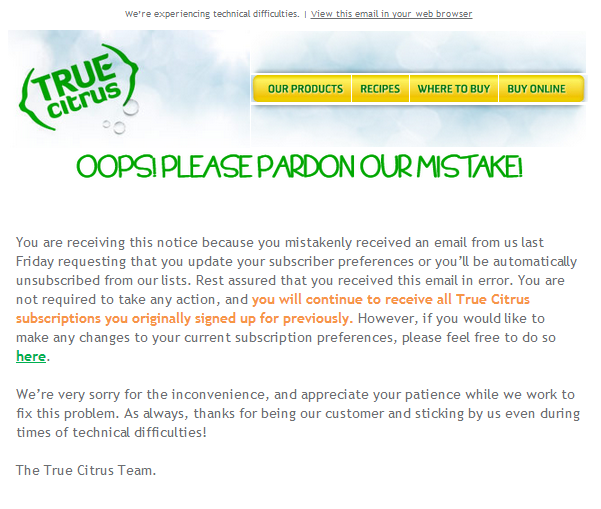 true citrus follows apology email best practices